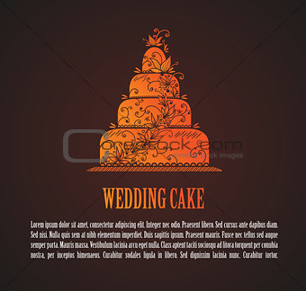Card with wedding cake
