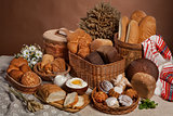 Still Life With Bread In Russian National Style