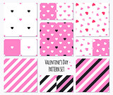 Set of pink patterns with hearts and stripes