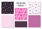Set of pink patterns with stripes and stars
