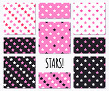 Set of pink seamless patterns with stars
