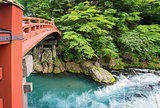 Long exposure closeup of Shinkyo Bridge in Nikko, Japan