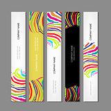 Set of banners, colorful zebra print design