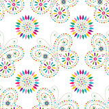 Seamless floral pattern with colorful butterflies