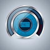 All digital shiny metallic speedometer rev counter