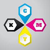Cmyk wallpaper with 3d hexagon buttons