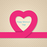 Pink heart ribbon valentine day greeting card