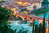 Ponte Pietra and river Adige, Verona, Italy