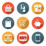 Online Shopping Icons with Shadows