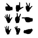 set of human hand black