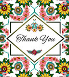 Thank you floral card. Perfect for wedding, greeting or invitation design. Vector, EPS10.