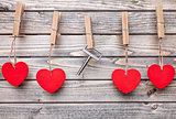 Hearts and key hanging on a string