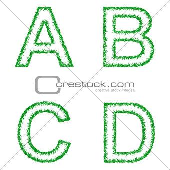 Green grass font set - letters A, B, C, D
