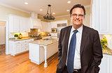 Man Wearing Necktie in Beautiful Custom Residential Kitchen