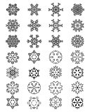 different black snowflakes