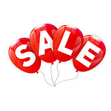 Glossy Balloons Sale Concept of Discount. Vector Illustration.