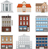 Buildings icons isolated vector on white background