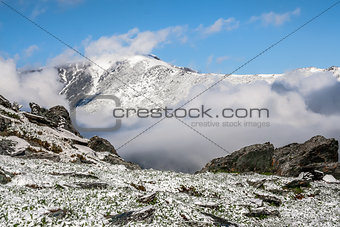 Altai Mountains and clouds at the horizon