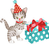 Cat birthday with gift
