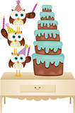 Owls putting candle birthday cake