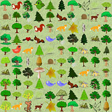 Cartoonish forest pattern.