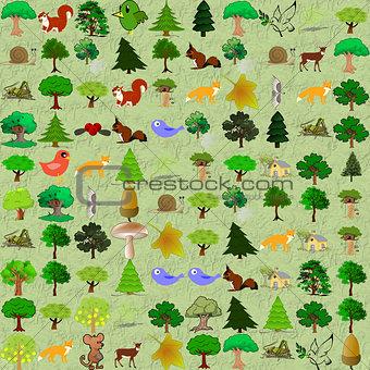 Cartoonish forest pattern.