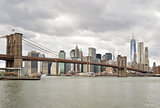 Manhattan skyline with Brooklyn Bridge.