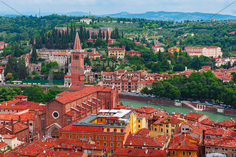 Aerial view of red roofs in Verona, Italy