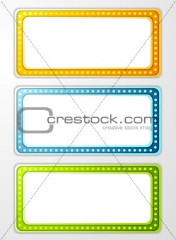 Bright abstract retro light banners