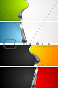 Abstract bright banners with metal elements