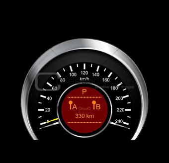 Abstract vector illustration of metal speedometer