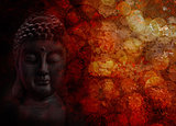 Bronze Red Zen Buddha Statue Meditating Front