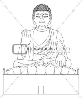 Asian Big Buddha Black and White Line Art