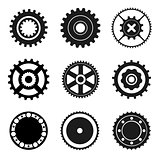 Cogwheel and bearings icons