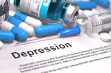 Depression Diagnosis. Medical Concept. Composition of Medicament.