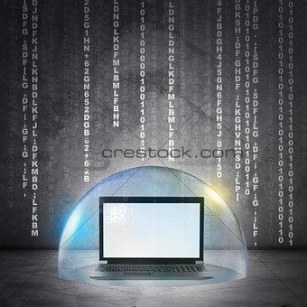 Black laptop in bubble