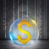 Golden dollar sign in bubble
