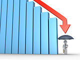 Businessman with umbrella and falling graph