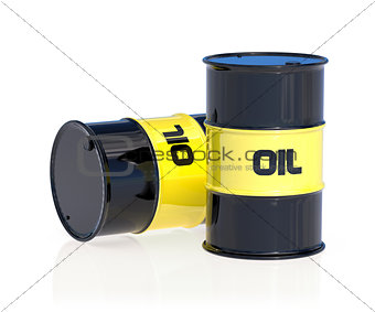 Black oil barrels isolated on white background