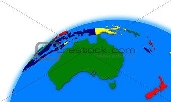 Australia on globe political map