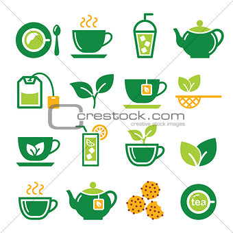 Green tea and ice tea vector icons set