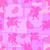 Cupids pink seamless background