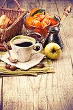 Cup coffee breakfast rustic style