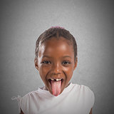 Little girl makes a tongue