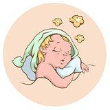 The baby sleeping sweetly