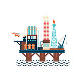 Oil Factory Platform. Vector Illustartion