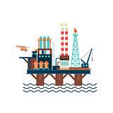 Oil Factory Platform. Vector Illustartion