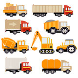 Work Trucks Flat Vector Set