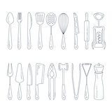 Cutlery Icons in Handdrawn Style