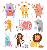 Colourful Childish Animals Vector Set
